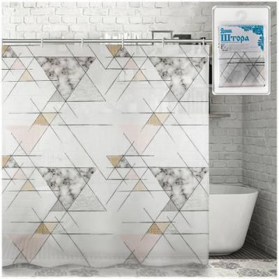 """Штора для ванной """"Геометрия"""", 180х180 см Доляна"""